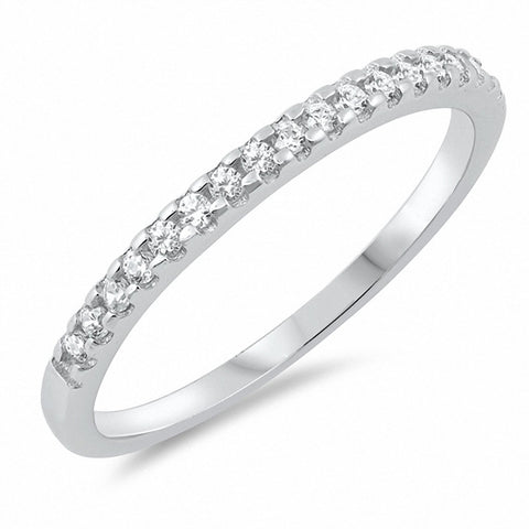 2mm Half Eternity Wedding Band for Ring Round Cubic Zirconia 925 Sterling Silver Choose Color