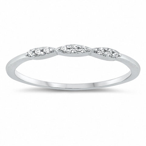 Fashion Petite Dainty Band Ring Round Cubic Zirconia 925 Sterling Silver Choose Color