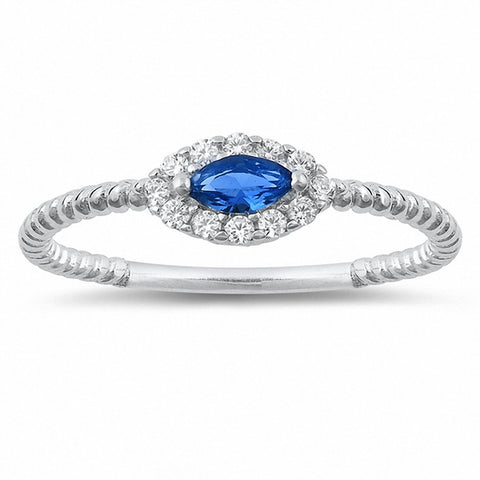 Fashion Ring Braided Cable Band Marquise Simulated Blue Sapphire Round Cubic Zirconia 925 Sterling Silver Choose Color