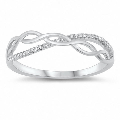 Twisted Infinity Ring Round Cubic Zirconia 925 Sterling Silver Choose Color
