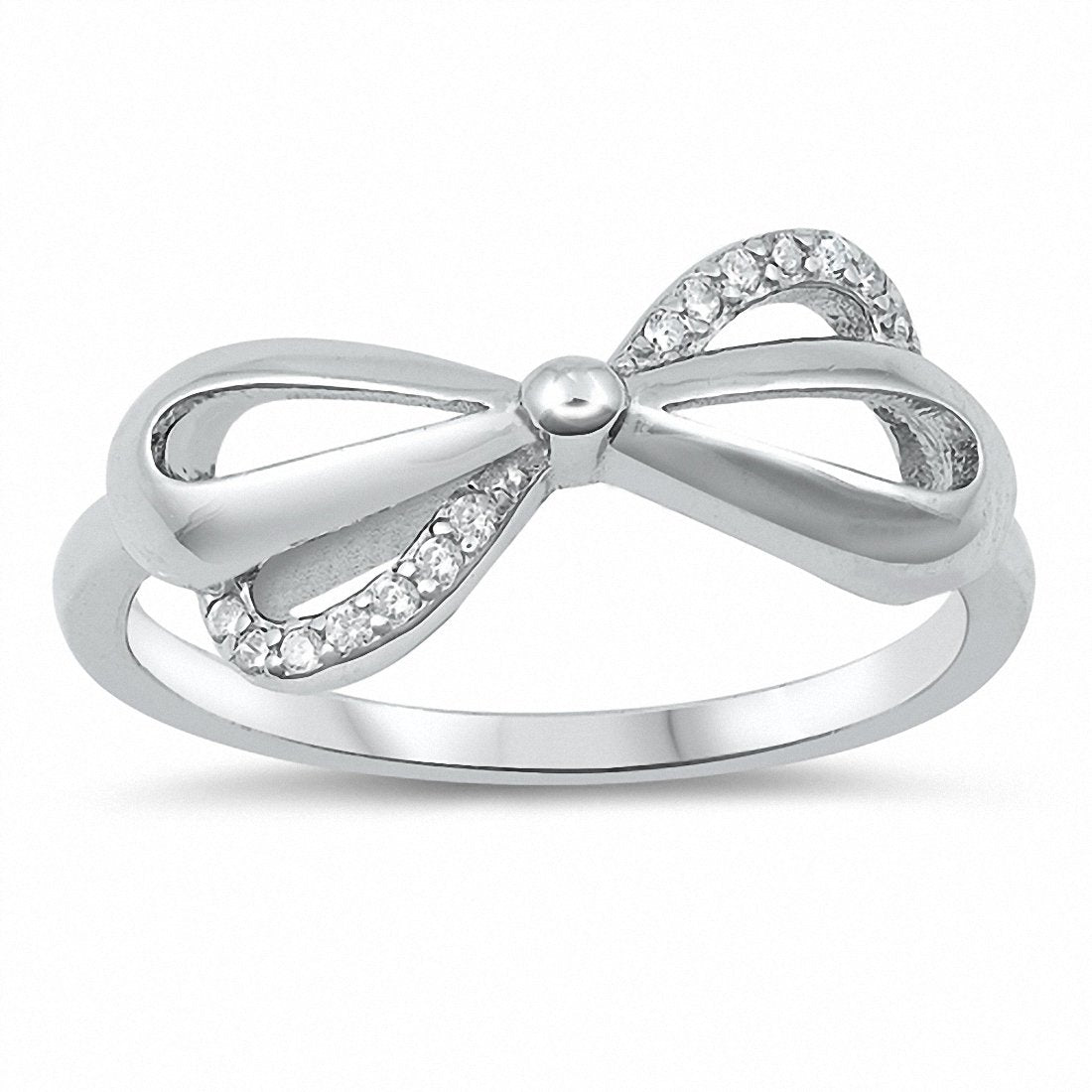 582bd8593 Ribon Bow Ring Round Cubic Zirconia 925 Sterling Silver Choose Color ...