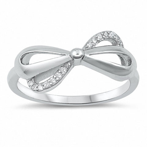 Ribon Bow Ring Round Cubic Zirconia 925 Sterling Silver Choose Color