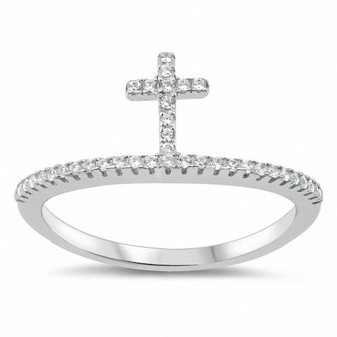 Cross Ring Round Cubic Zirconia 925 Sterling Silver Choose Color