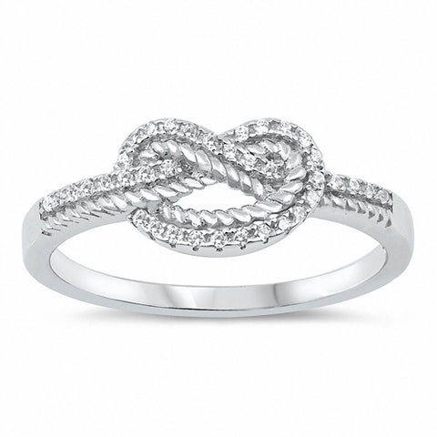 Heart Ring Round Pave Cubic Zirconia Tangled Knot Promise Ring 925 Sterling Silver Choose Color