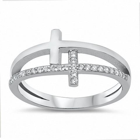 Double Sideways Cross Ring Double Cross Round Cubic Zirconia 925 Sterling Silver Choose Color