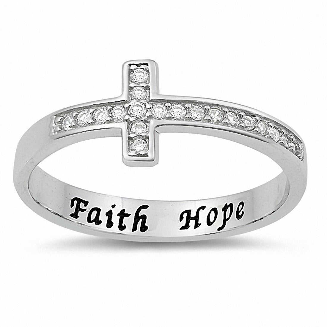 Faith Hope Sideways Cross Ring Round Cubic Zirconia 925 Sterling Silver Choose Color