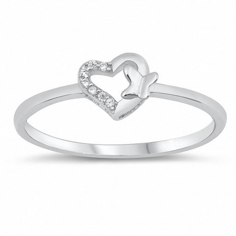 Heart Butterfly Ring Round Cubic Zirconia 925 Sterling Silver Choose Color