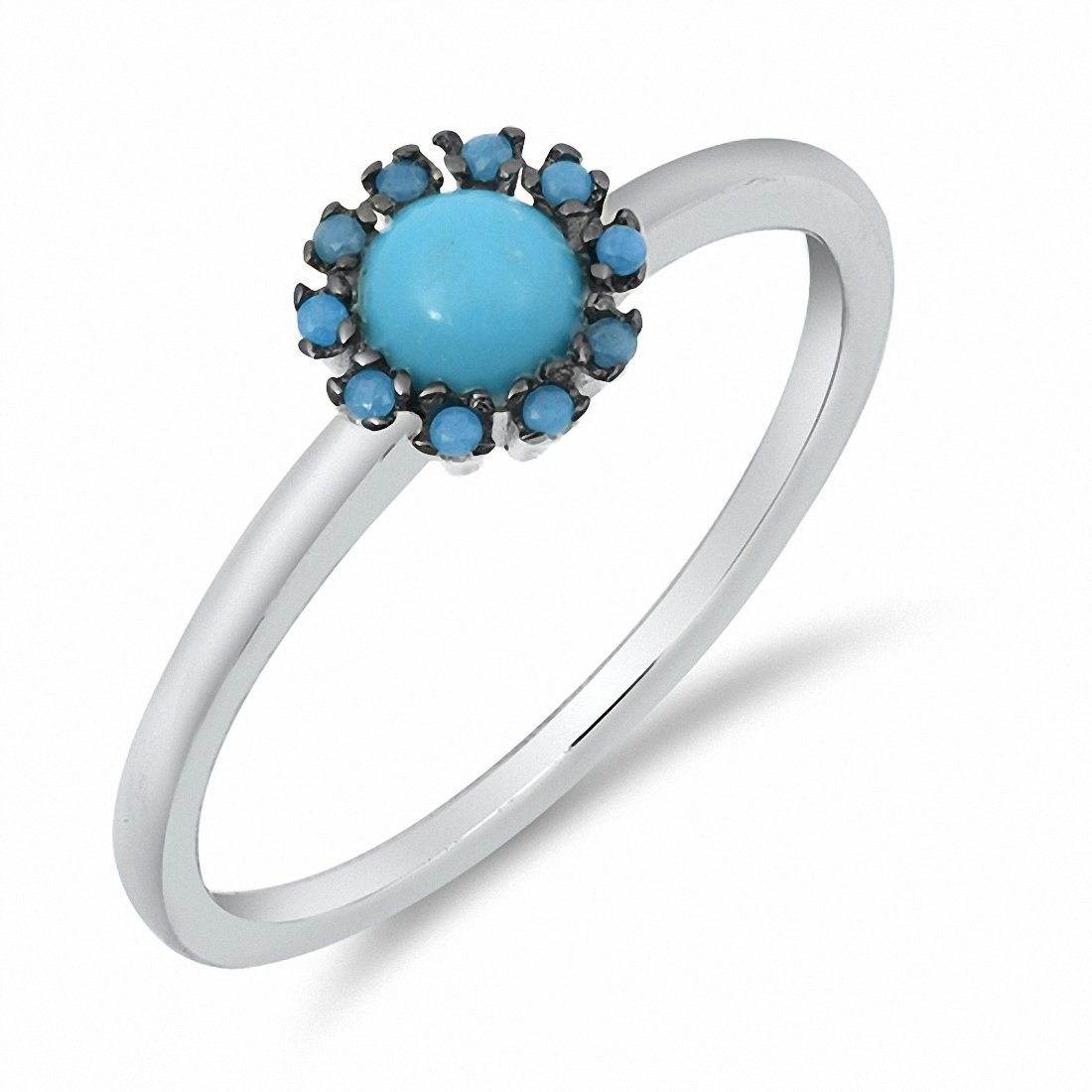 Flower Ring Round Simulated Nano Turquoise CZ 925 Sterling Silver Choose Color