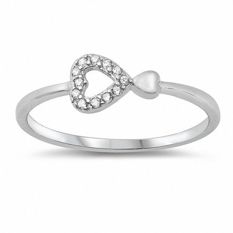 Sideways Heart Ring Round Cubic Zirconia 925 Sterling Silver Choose Color