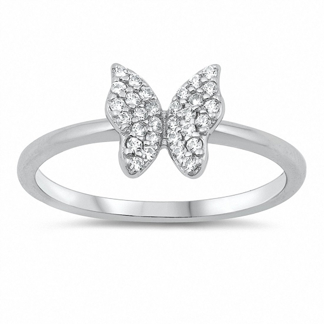Butterfly Ring Round Cubic Zirconia 925 Sterling Silver Choose Color