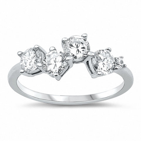 4-Stone Ring Round Cubic Zirconia 925 Sterling Silver Choose Color