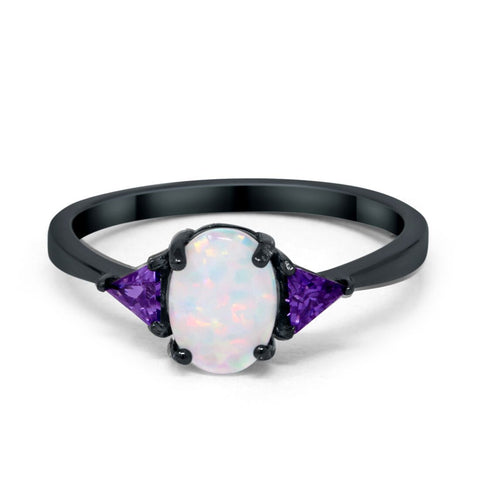 Fashion 3 Stone Ring Triangle Simulated Amethyst Oval Created White Opal Black tone 925 Sterling Silver Choose Color
