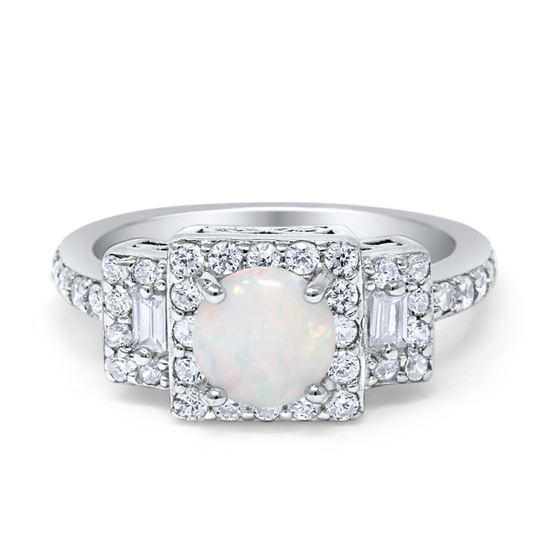 Halo Wedding Engagement Ring Round Created Opal Baguette Round Cubic Zirconia 925 Sterling Silver Choose Color