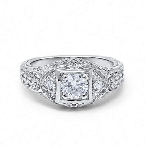 Art Deco Antique Style Wedding Engagement Ring Round Cubic Zirconia 925 Sterling Silver Choose Color