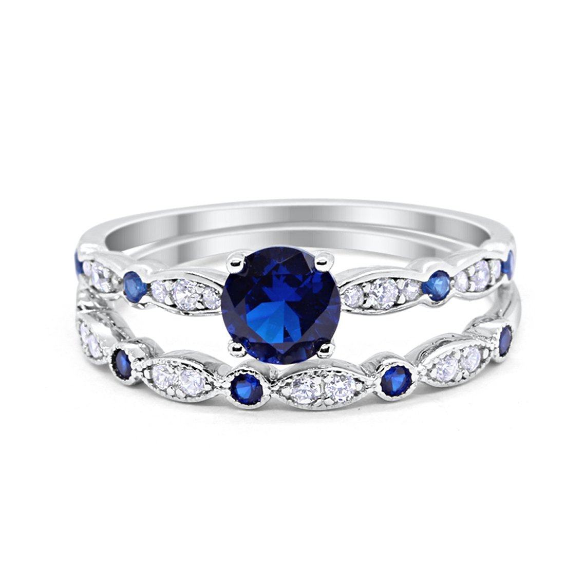 6f15cc48570 Two Piece Wedding Engagement Bridal Set Art Deco Simulated Sapphire 925  Sterling Silver Choose Color. Tap to expand