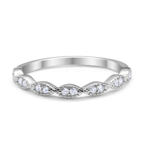 2mmArt Deco Half Eternity Wedding Band for Ring Round Cubic Zirconia 925 Sterling Silver Choose Color