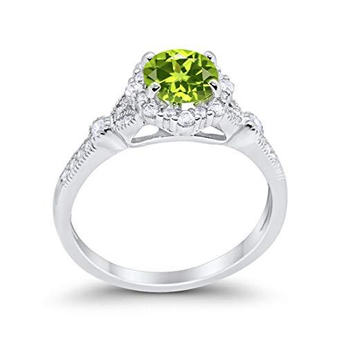 Floral Art Deco Engagement Ring Simulated Cubic Zirconia 925 Sterling Silver