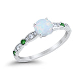 Art Deco Wedding Engagement Ring Round Cubic Zirconia 925 Sterling Silver Simulated Emerald