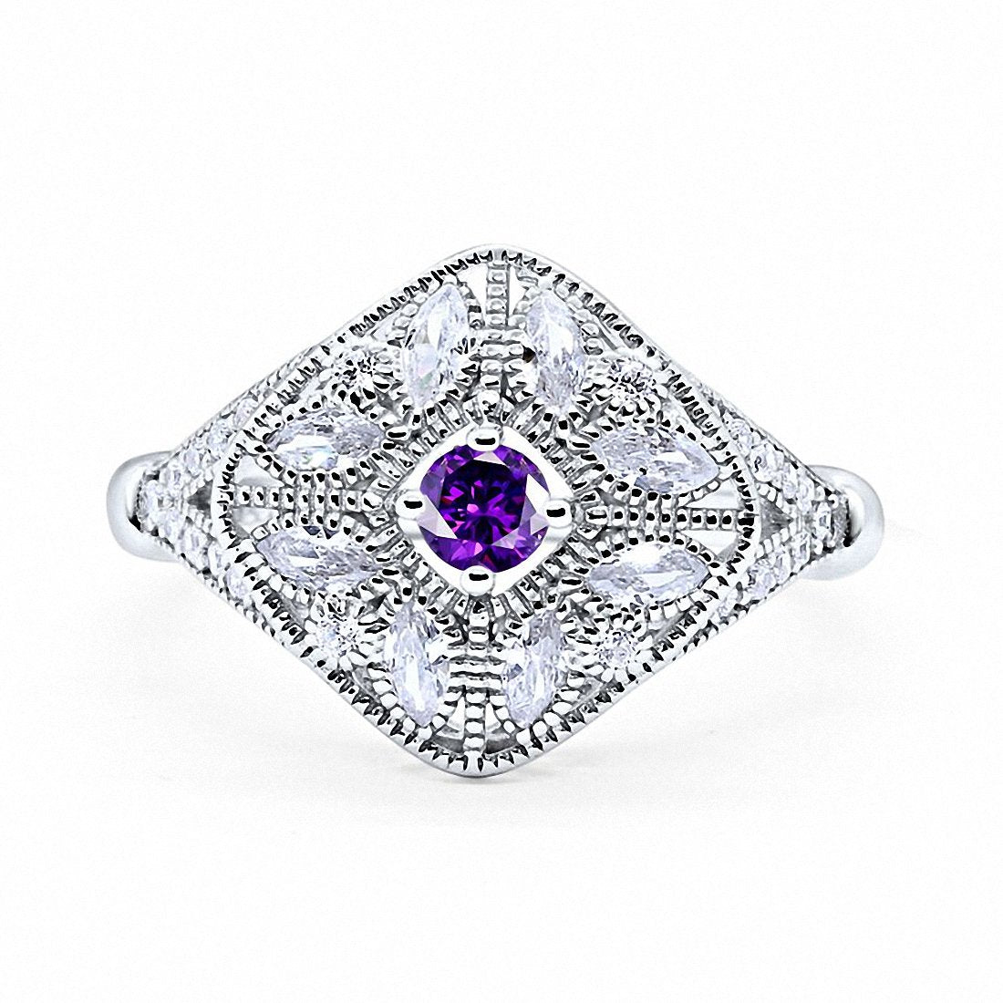 Art Deco Ring Marquise Filigree Round Cubic Zirconia 925 Sterling Silver Choose Color