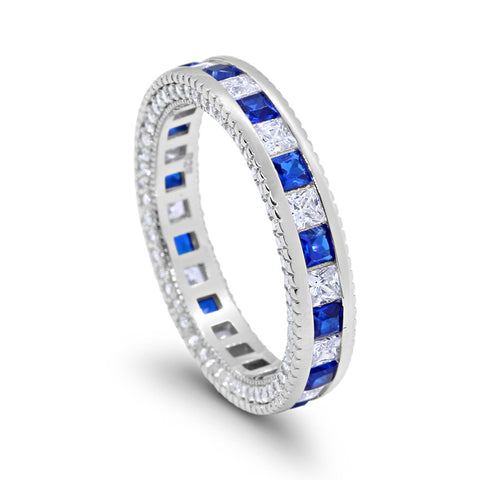5mm Full Eternity Band Ring Alternating Princess Cut Round Cubic Zirconia Solid 925 Sterling Silver Choose Color