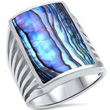 Men Women Unisex Ring Radiant Shape Simulated Rainbow Abalone 925 Sterling Silver - Blue Apple Jewelry