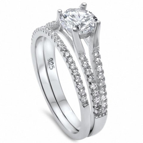 Two Piece Wedding Engagement Ring Band Bridal Set Round Cubic Zirconia 925 Sterling Silver Choose Color