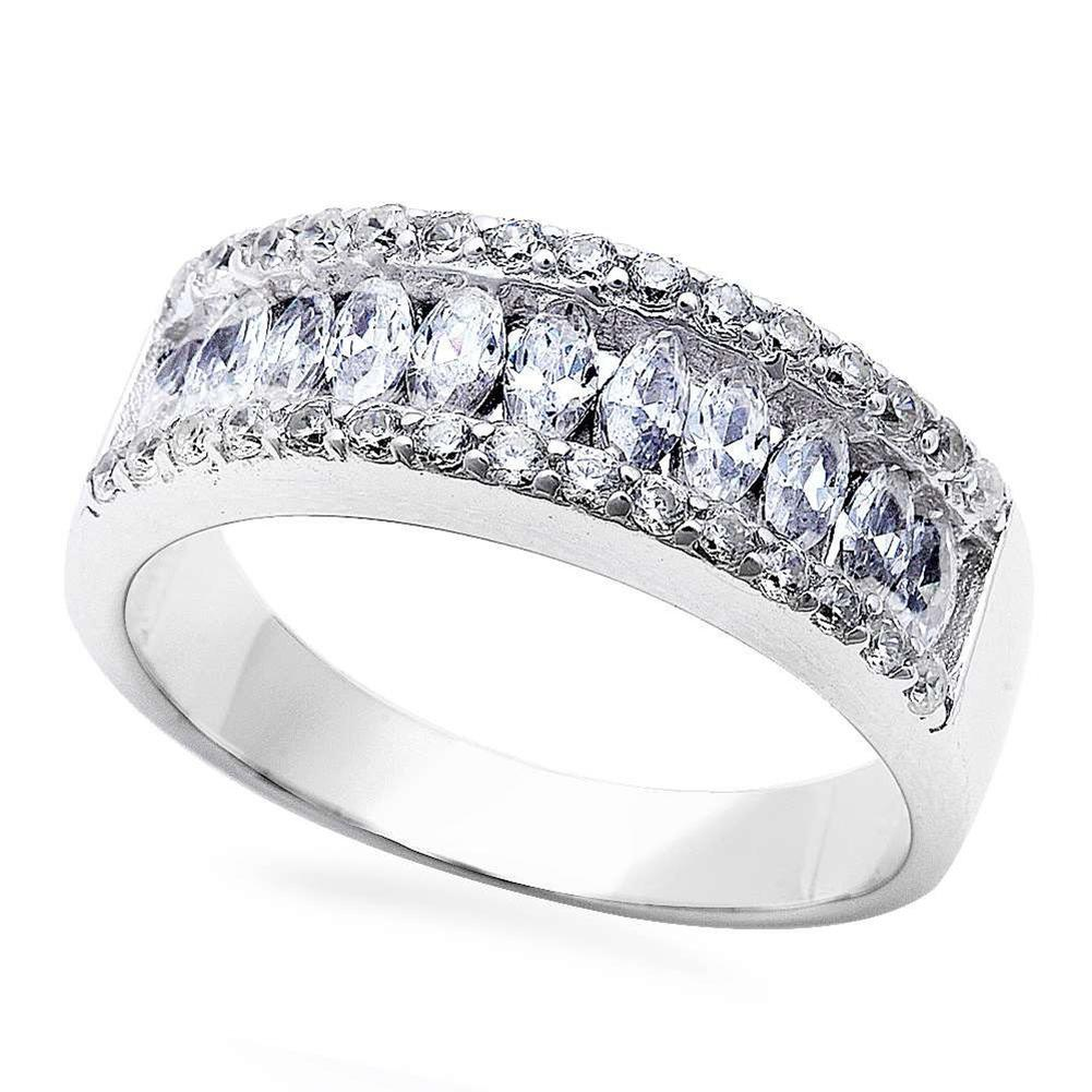 Half Eternity Band Marquise Round Cubic Zirconia 925 Sterling Silver Choose Color
