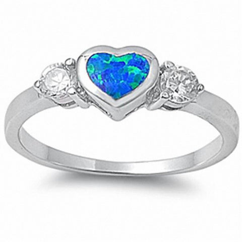Heart Ring Round Cubic Zirconia Created Blue Opal 925 Sterling Silver Choose Color