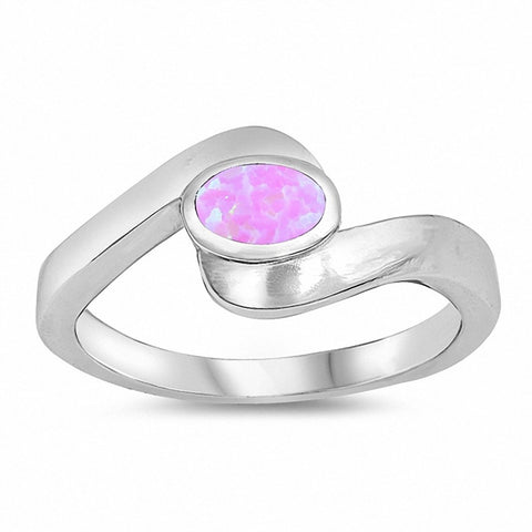Sideways Oval Created Opal Ring 925 Sterling Silver Choose Color