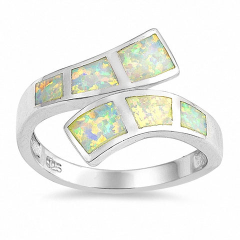 Fashion Wrap Bypass Design Ring Created Opal 925 Sterling Silver Choose Color