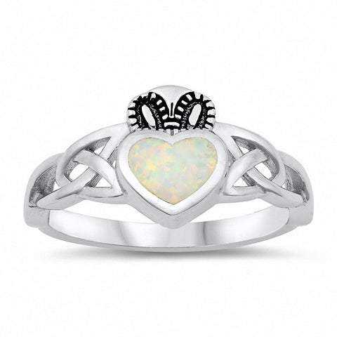 Celtic Claddagh Ring Created Opal Solid 925 Sterling Silver Choose Color