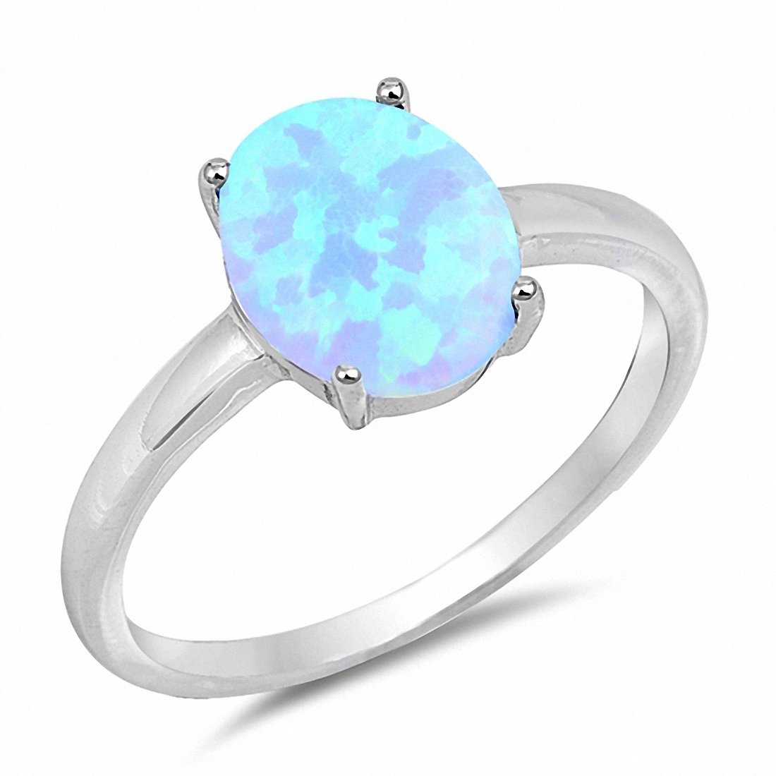 Fashion Solitaire Ring Oval Lab Created Light Blue Opal 925 Sterling Silver Choose Color