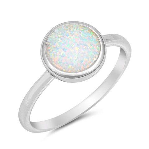 Solitaire Ring Round Bezel Inlay Lab Created White Opal 925 Sterling Silver Choose Color