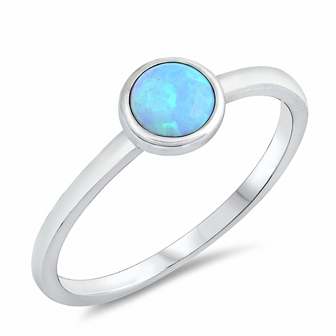 Petite Dainty Solitaire Ring Round Created Opal 925 Sterling Silver Choose Color