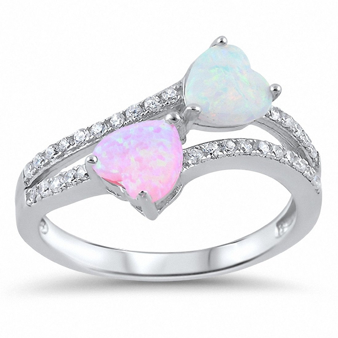 Double Heart Ring Heart Round Created Opal Cubic Zirconia 925 Sterling Silver Choose Color