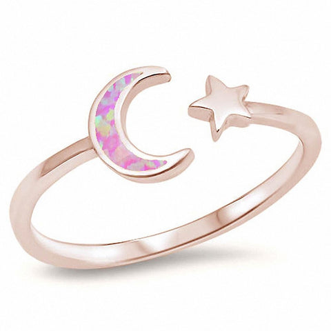 Moon Star Ring Lab Blue Opal 925 Sterling Silver Choose Color