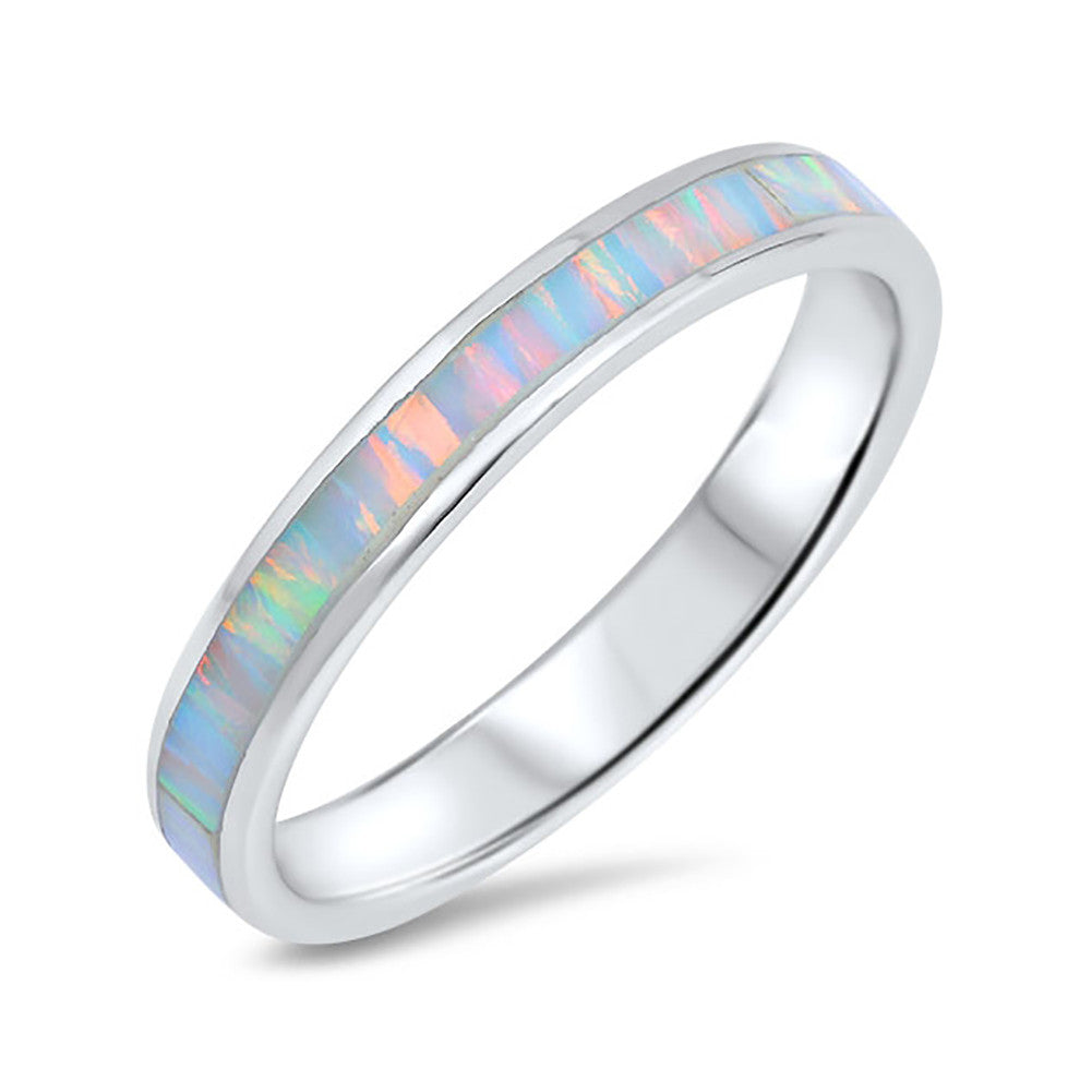 2mm Full Eternity Stackable Band Ring Lab Created Opal 925 Sterling Silver Choose Color - Blue Apple Jewelry