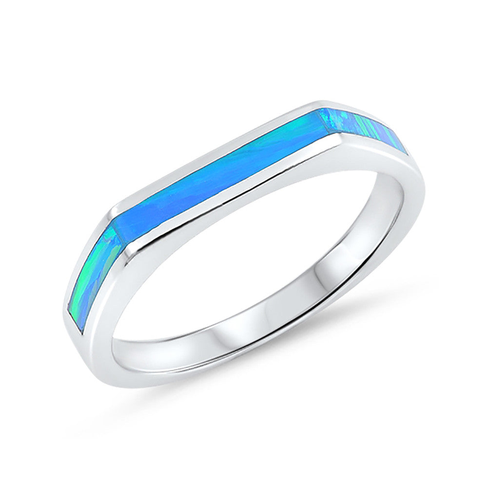 New Design Half Eternity Band Ring Lab Created Opal 925 Sterling Silver Choose Color - Blue Apple Jewelry
