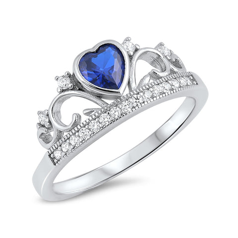 Half Eternity Heart Crown Design Ring 925 Sterling Silver Round CZ Choose Color - Blue Apple Jewelry
