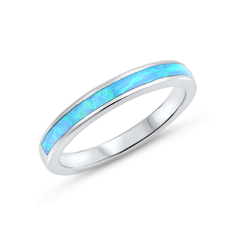 3mm Half Eternity Band Ring Lab Created Opal 925 Sterling Silver Choose Color - Blue Apple Jewelry