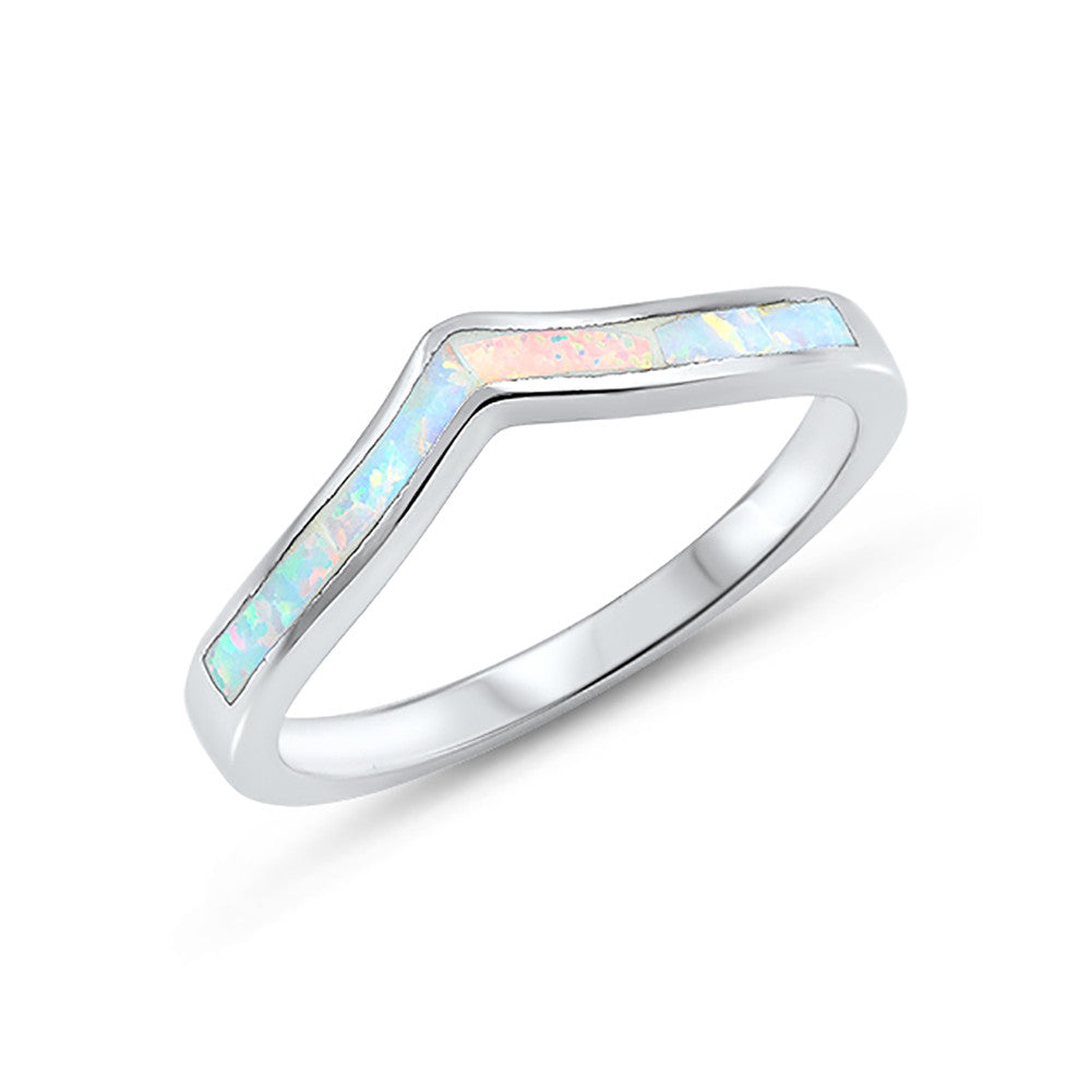 3mm Chevron Midi Ring Band Half Eternity 925 Sterling Silver Choose Color - Blue Apple Jewelry