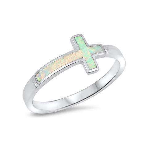 Sideways Cross Ring Lab Created Opal 925 Sterling Silver Choose Color - Blue Apple Jewelry