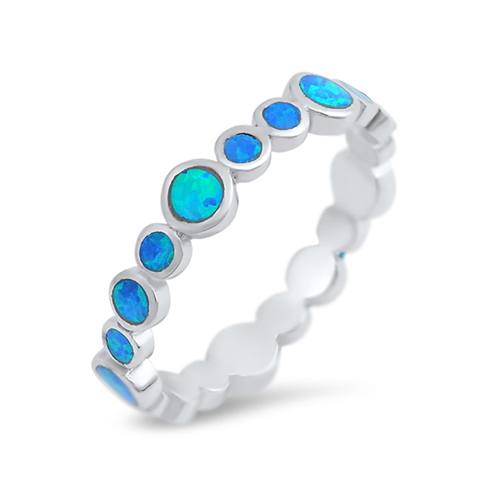 4mm Full Eternity Stackable Band Ring Round Lab Created Opal 925 Sterling Silver Choose Color - Blue Apple Jewelry