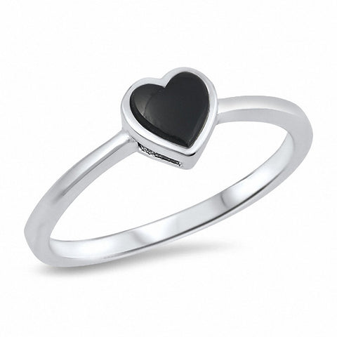 Solitaire Heart Promise Ring Lab Created Light Blue Opal 925 Sterling Silver Choose Color