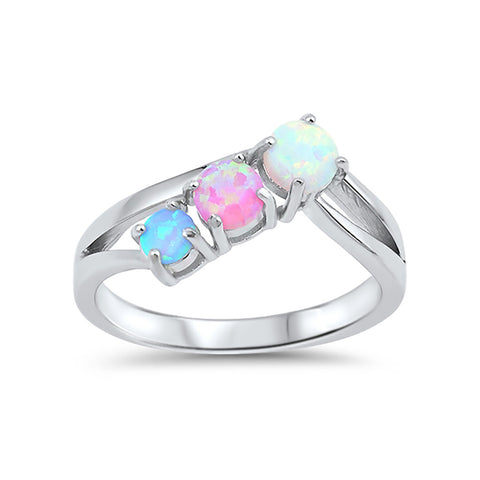 Fashion 3-Stone Ring Round Lab Created Pink, Light Blue, White Opal 925 Sterling Silver - Blue Apple Jewelry