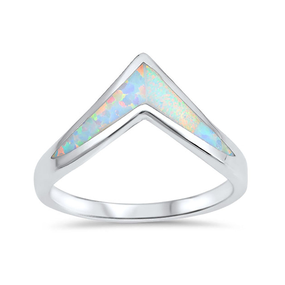 Chevron Midi V Ring Band Lab Created Opal 925 Sterling Silver Choose Color - Blue Apple Jewelry