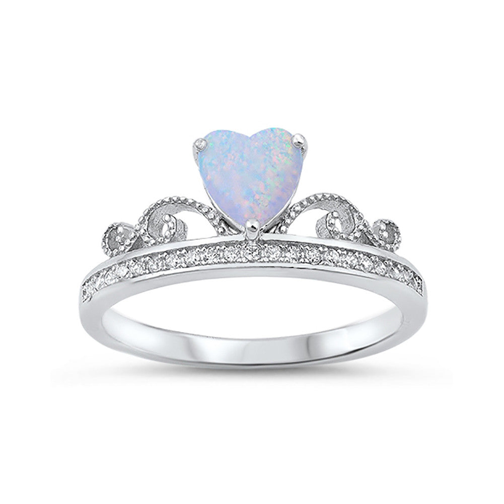 Heart Crown Ring Lab Created White Opal Round Cubic Zirconia 925 Sterling Silver - Blue Apple Jewelry