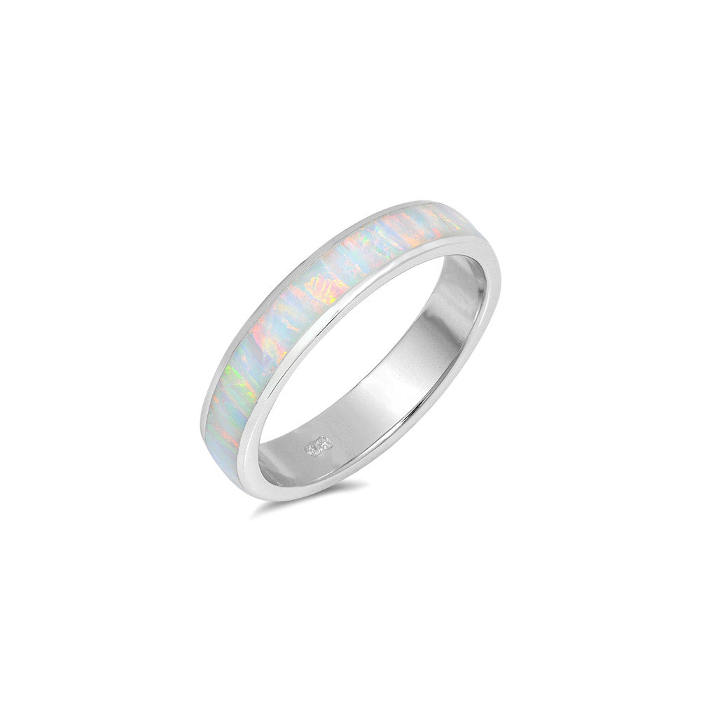 5mm Full Eternity Stackable Unisex Wedding Band Ring 925 Sterling Silver Lab Created Opal Choose Color - Blue Apple Jewelry