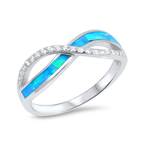 Crisscross Infinity Ring 925 Sterling Silver Lab Created Opal Round Simulated CZ Choose Color - Blue Apple Jewelry