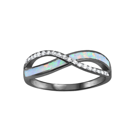 Crisscross Infinity Ring 925 Sterling Silver Lab Created Opal Round Simulated CZ Choose Color